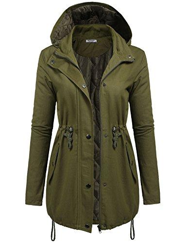UNibelle Femme Manteau Blouson Mi Long Chaude Coton Fermeture Éclair Capuche Vert XL