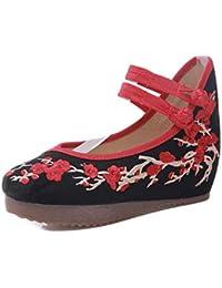 Tenthree Tela Zapatos de Baile Mujeres - Damas Chino Estilo Zapatos Bordados Fiesta Vestido Cuña Sandalias