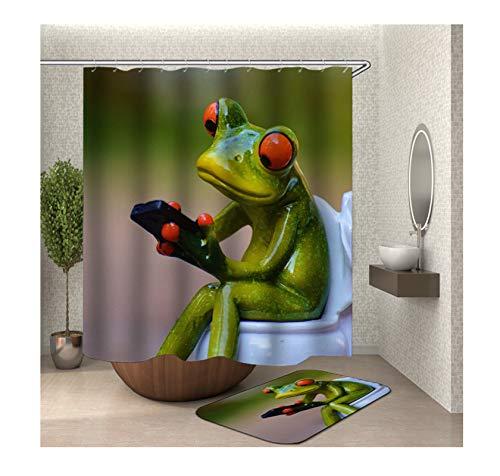 adezimmerteppiche Set aus Polyester| 3D-Druck Frosch Muster Design Badewannenvorhang Badezimmer Matte | Bunt | mit 12 Duschvorhangringen für Badewanne Badezimmer - 90x180CM ()