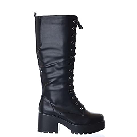 NEW LADIES WOMENS KNEE HIGH CHUNKY PLATFORM MID BLOCK HEEL LACE UP ZIP UP BOOTS [Black Size 6]