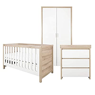 Tutti Bambini Modena Nursery Furniture Set (3 Piece) | Convertible Baby Cot Bed, Chest of Drawers Changer and Wardrobe Set | Solid Wood Furniture (Oak & White)
