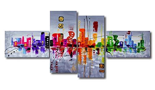 Visario - 6515, Set di quadri su tela, motivo moderno, effetto dipinto a mano, XXL (160 x 70 cm)