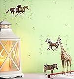NEWROOM Kindertapete Bunt Pferde Kinder Vliestapete Grün Vlies Kindertapete Kinderzimmer Babyzimmer