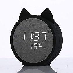 Zebuakuade Horloge en Bois de réveil numérique de Style Chat pour Chambre (Color : Black)
