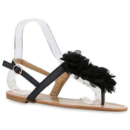 Damen Sandalen Zehentrenner Sommer Schuhe Flats Blumen Schwarz Flower