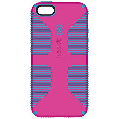 Shell Grip Schutzhülle für iPhone SE / 5 / 5S, Weiß/Schwarz, CandyShell Griff, Lipstick Pink/Jay Blue ()