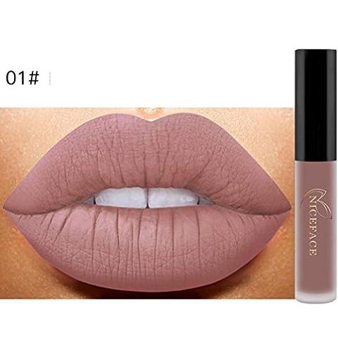 Bluestercool 26 Couleurs Rouge à Lèvres Liquide Mat Waterproof Hydratant Brillant Maquillage à Lèvres (9.8*1.5*1.5, 1#)