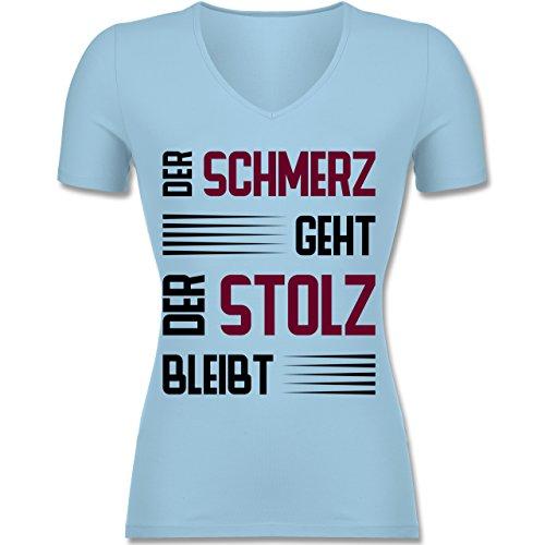 Shirtracer Laufsport - der Schmerz Geht Doch der Stolz Bleibt - Tailliertes T-Shirt mit V-Ausschnitt für Frauen Hellblau