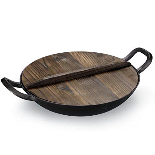 Rollsnownow Küche zwei Ohren Gusseisen Pan keine Beschichtung kein Rauch Antihaft-Pfanne mit Holzdeckel Durchmesser 36m (14 In) (Wärme Rost Bedeckt)