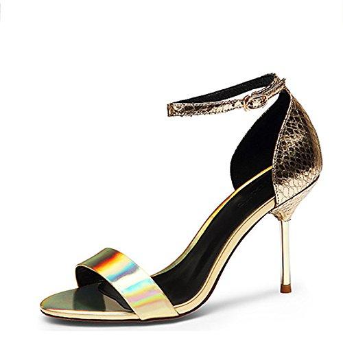 Scarpe Estate in pelle con moda Rugiada femmina fibbia Tacchi alti Golden