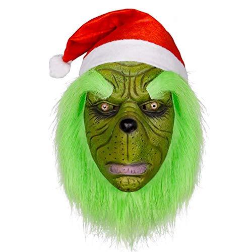 QCHNES Die Maske Weihnachtsdieb Cosplay lustige Maske, Weihnachtsmann-Maske, Ornament Green Monster Maske Halloween Horror Christmas - Dickens Of A Christmas Kostüm