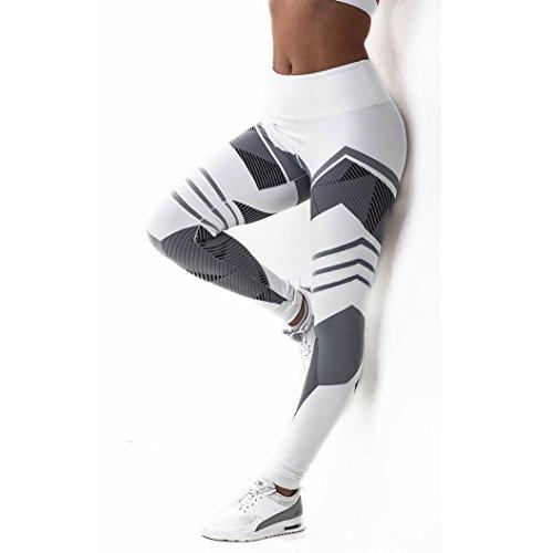 Yogogo Damen 3/4 Yoga Leggings Hose Mittlere Taille Pants | Dünne Hosen | Mesh Muster Print Fitness Leggings | Sport Fitness Workout Leggins | Elastische Dünne Hosen | Sporthose