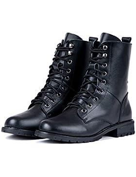 cooshional Damen Halbschaft Stiefel Kunstleder cool Schnürstiefel schwarz Profilsohle