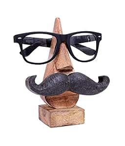 storeindya Cadeau Jour Mere, Quirky Fait Main Nez Forme en Bois de Rose Lunettes Lunettes de Soleil Support pour Decor de la Maison et du Bureau (Moustache Nez Forme marron2) (Design 1)