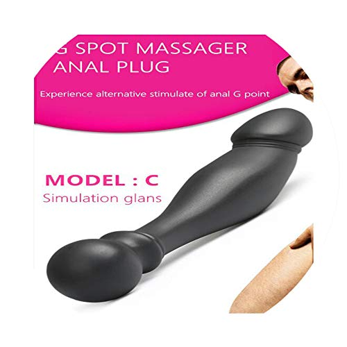 Mens Sex NEW 3 Styles Black Big Pull Beads Plug Silicone Double Head Erotic Toys Adult Men,C - Black Rock Appliance Pull