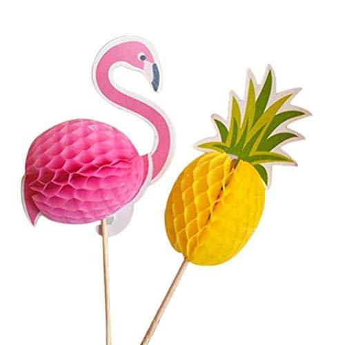 10Pcs 3D Ananas Flamingo Obst Zahnstocher Kuchen Hochzeit Flamingos Grüne Partei Halloween