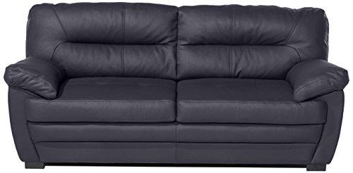 Cotta 3er Sofa Rücken Echt, 64% Polyurethan, 25% Polyester, 11% Baumwolle, 90 x 190 x 86 cm, schwarz