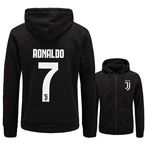 WYNBB Sweatshirt Kapuzenpulli C Ronaldo 7 CR7 Pullover Fleece Fußballverein Fan Hoody Geschenk für Fußballfans Liga Kapitän Herren Frühling Herbst,Black,M