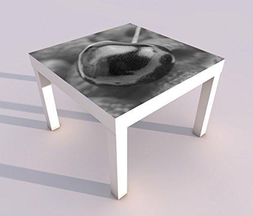 Design - Tisch mit UV Druck 55x55cm schwarz weiss Kirsche rot Beere Beeren Himbeeren Küche Spieltisch Lack Tische Bild Bilder Kinderzimmer Möbel 18A2211, Tisch 1:55x55cm -
