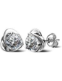 Lily Jewelry Pendientes en forma de corazón con cristales de Swarovski para mujer