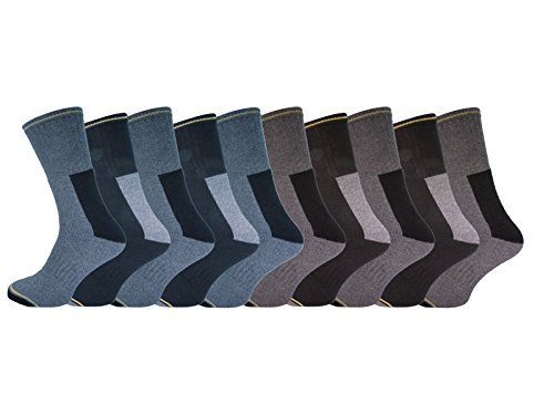 10 Pairs Mens Heavy Duty Work Casual Socks Size 6 - 11 Cotton Rich - Cushioned Support
