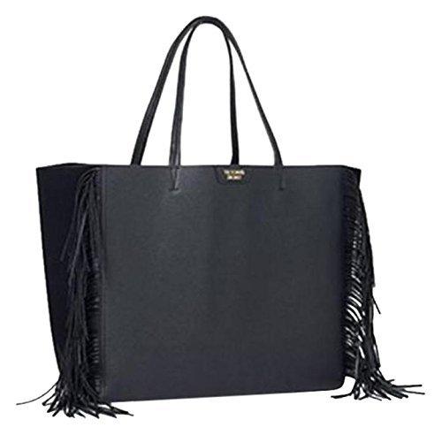 Victoria-s-Secret-Schwarz-Kunstleder-Quaste-Fransen-Tote-Weekend-Bag
