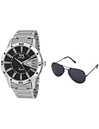 WM Gift Combo Set Of Sunglasses And Black Dial Silver Stainless Steel Strap Day And Date Collection Series Analog...