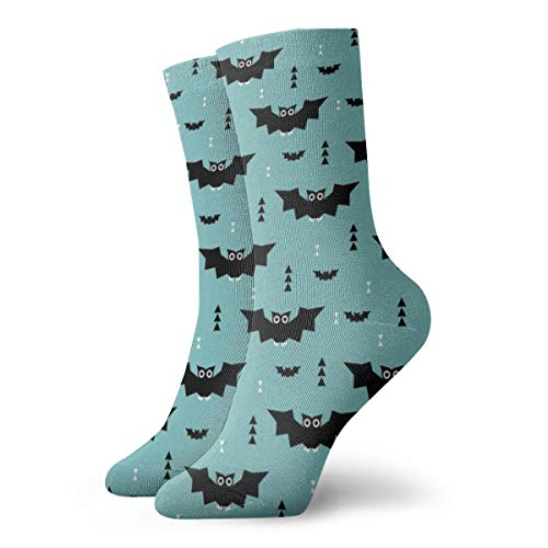 (Cute Little Bats Geometric Halloween Horror Print With Triangles Blue Night Men's Classics Cotton Dress Socks Flat Knit Fashion Crew Socks for Men 30 cm/11.8 inch)