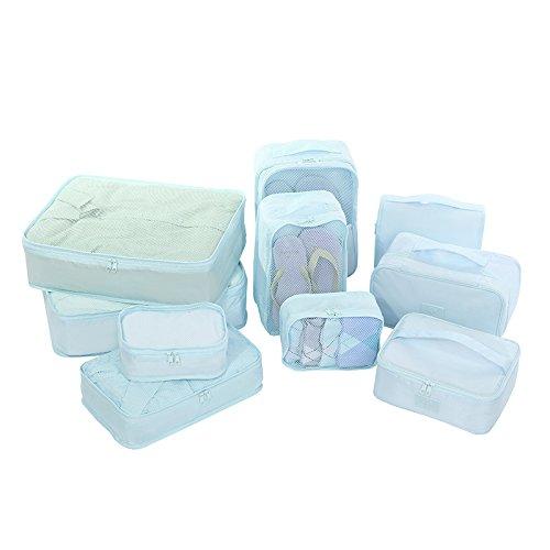 BATTAR-Einfache Polyester-Verpackungs-Beutel-Reise-Verpackungs-Organisatoren Faltbare freie Gepäck-Organisatoren bilden Beutel-Kasten,Travel bag 10 pcs, sky blue