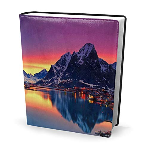 Dress rei Book Cover Beautiful Scenery Pleasant Waterproof PU Leather School Book Protector Washable Reusable Jacket 9x11 in