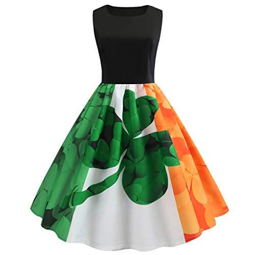 Mymyguoe St Patrick's Day Kleider Damen 1950er Retro Petticoat ärmelloses Ballkleid Kleid eine Linie Blumendruck Vintage Hepburn Cocktailkleid Rockabilly Abend Druck Party Prom Swing Kleid