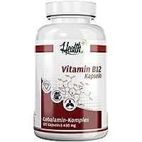 HEALTH+ VITAMIN B12-120 Kapseln, hochdosierte Vitamin Kapseln mit 1000 mcg Cobalamin-Komplex, MADE IN GERMANY