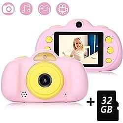 Fede Appareil Photo pour Enfant, avec Carte TF 32 Go, Caméra Selfie Rechargeable Numérique pour Enfants, Ecran à 2,4 Pouces, Double Objectif HD 8MP/1080P, Coque en Silicone Résistant aux Chocs(Rose)