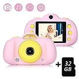 Kinderkamera mit 32GB TF-Karte,wiederaufladbare Selfie Kamera für Kinder, Kinder Digital-Camcorder mit 2,4 Zoll Bildschirm,HD 8MP/1080P Doppellinse, stoßfeste Kamera mit Silikonhülle(Rosa)