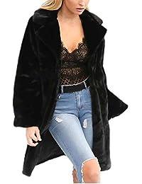 Oudan Cálido Abrigo Largo Reversible Mullido de Piel sintética Elegante de Las Mujeres Cardigans (Color