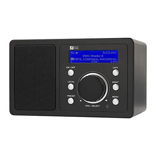 Ocean Digital WR202 WiFi Internet Radio Digitale con UPnP & DLNA l Doppi Radiosveglia l Altoparlante l Player Musicale l Schermo Colori per Tavolo Cucina Scrivania - Nero