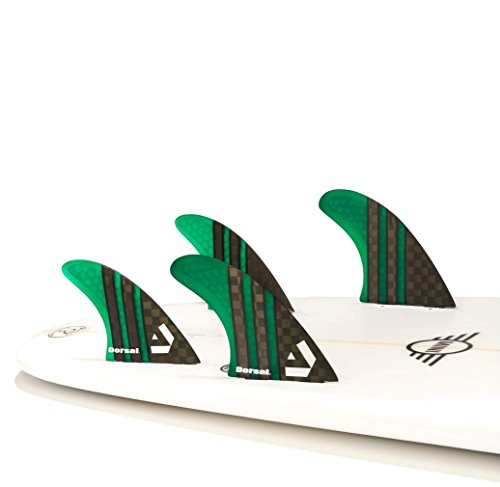 DORSAL® Carbon Hexcore Quad Surfboard Fins (4) Honeycomb FCS Base Green