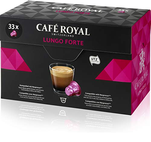 Café Royal Lungo Forte 33 Nespresso kompatible Kapseln (Intensität 8/10) 1er Pack (1 x 33 Kaffeekapseln)
