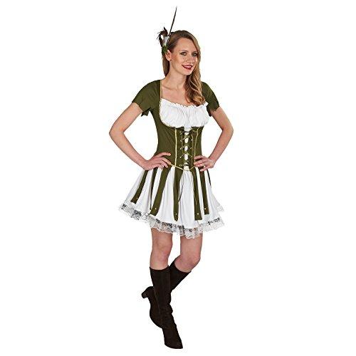 aid Marian Kleid Damen Zum Karneval Grün Weiß - 40/42 (Maid Marian Kostüm)