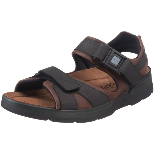 Mephisto Mens Shark Fit Black Leather Sandals 42 EU