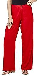 Global Desi Womens Pallazo Pants (AW163846TR500_Dark Red_M)