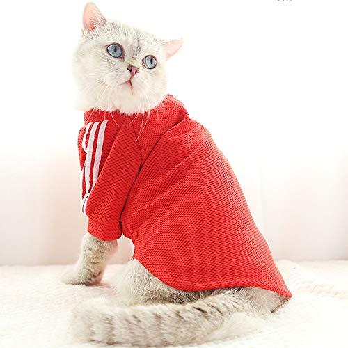 e Kleidung Mode Trend Britische Kurze Kleidung Kleine Sommer Dünne Katze Kostüme Anti-pet Haar Tropfen Sommer Mode Katze Kleidung (Color : Red) ()