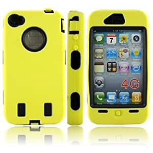 Shock Proof Hard Case Cover Explorer Defender for iPhone 4 4G Yellow including Screen and Apple Logo Protector