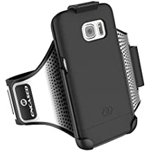 Galaxy S7 Edge Armband & Sport Case (2 pc set) includes Encased Click-N-Go Arm Band + Hybrid Cover (Smooth Black)