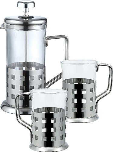 Acero inoxidable café-de corazón 3 tlg (té-diseño de corazón, 2 té-vasos, Espresso, café, vidrio, jarra para café, taza de café)