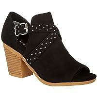 Rocket Dog Womens Yuma Fabric Peep Toe Ankle Clog Boots, Black, Size 9.0 US / 7 US