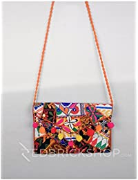 Red Brick Shop Leaf Geometric Pompom Orange Kutchi Sling Bag For Girls And Women GJV0033BG942AOS17