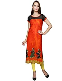 Orange Digital Print Cotton Kurti