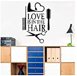 Wangcai Amore Hair Stylist Sticker Decal Asciugatrice Forbici Salon Sign Finestra Moto Camion Paraurti Porta Decalcomania Del Vinile Asciugacapelli 41X58 Cm
