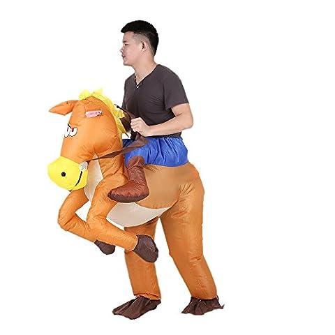 Anself Costume de Gonflable de Cow-boy à Cheval Drôle pour Adulte Déguisement Halloween Cosplay